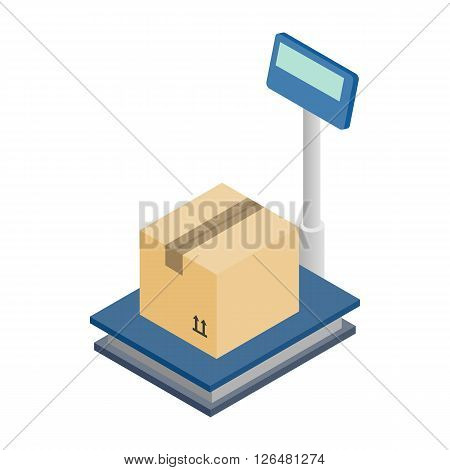 Scales for weighing with box icon in isometric 3d style on a white background