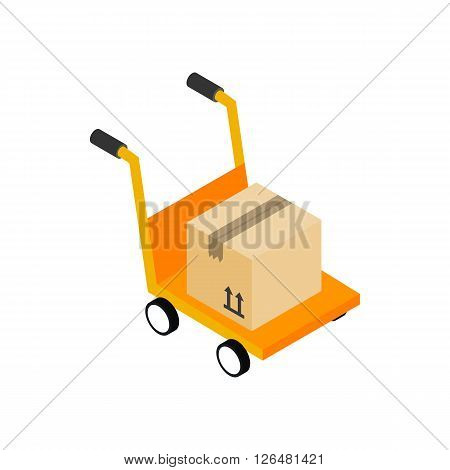 Yellow cart with cardboard box icon in isometric 3d style on a white background
