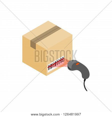 Scanning label on the box with barcode scanner icon in isometric 3d style on a white background