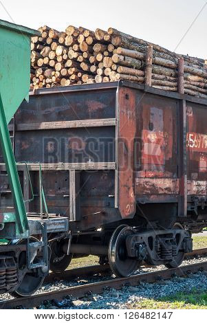 Railway freight wagon. Shipping by rail. 