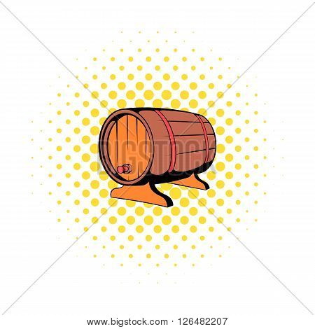 Wooden barrel of beer with a tap icon in comics style on a white background