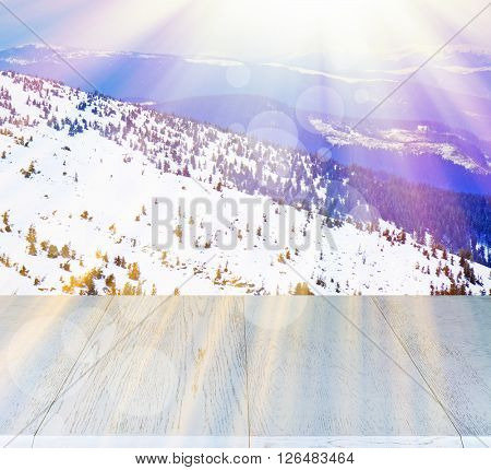 Beautiful winter background with shabby table