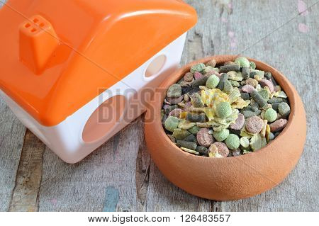 hamster food in pottery and little home