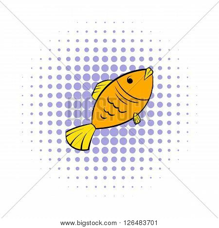 Dry fish icon in comics style on a white background