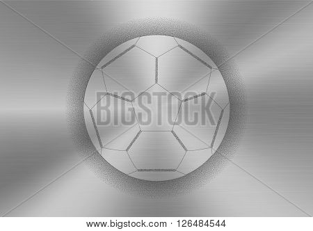Soccer ball icon made of stipples like sprayed paint on a brushed metal background. Soccer football ball team sport concept. Vector illustration