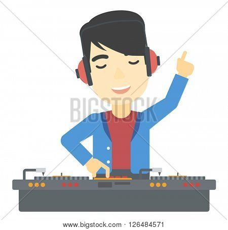 Smiling DJ with console.
