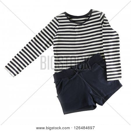 Striped jumper and black shorts, isolated on white
