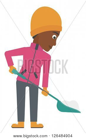 Woman shoveling and removing snow.