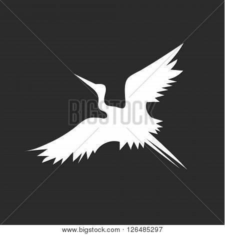 Flying Stork bird vector minimalism in logo design illustration sign art