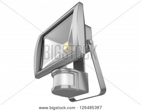 A 3d LED waterproof spotlight with motion Sensor isolated on white background.