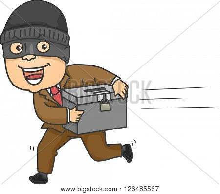 Illustration of a Mugger Running Away with a Ballot Box