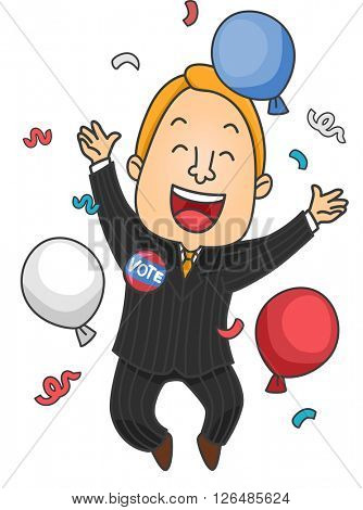 Illustration of a Male Political Candidate Celebrating His Win