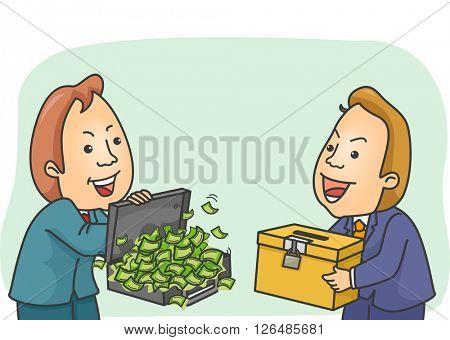 Illustration of a Shady Man Buying a Ballot Box