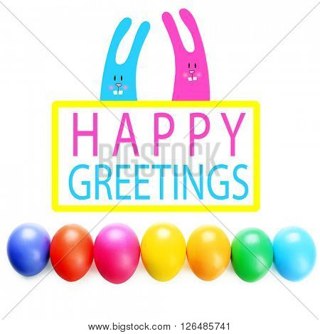 Easter greeting card. Colorful eggs isolated on white