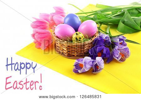 Easter greeting card. Multicoloured eggs and flowers on napkin