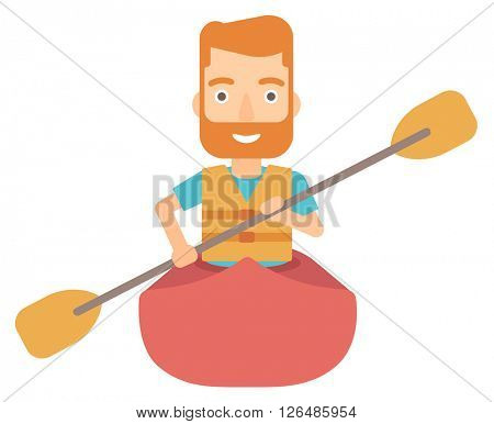 Man riding in canoe.