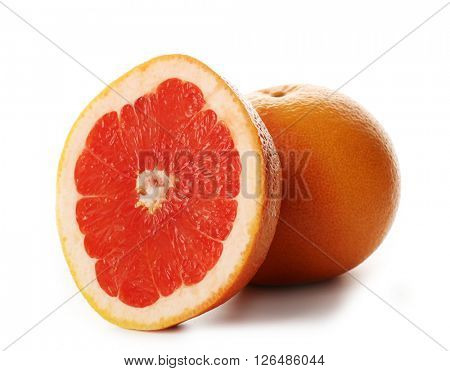 Juicy grapefruit isolated on white background