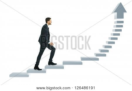 Businessman up the staircase over white background. ready for your design