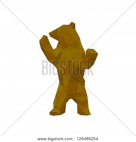 Grizzly Bear Logotype was worth its hind legs Isolated on White background the Style of Modern Polygon Design art
