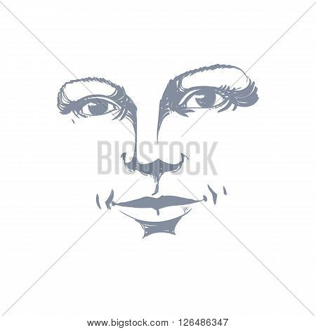 Monochrome Hand-drawn Silhouette Of Romantic Woman Face, Delicate Features. Face Expression On Lady