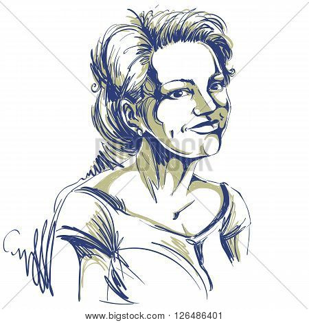 Vector Drawing Of Smiling Pleased Woman With Stylish Haircut. Black And White Portrait Of Attractive