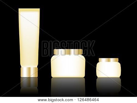 Cosmetic packaging gold color designed on black background
