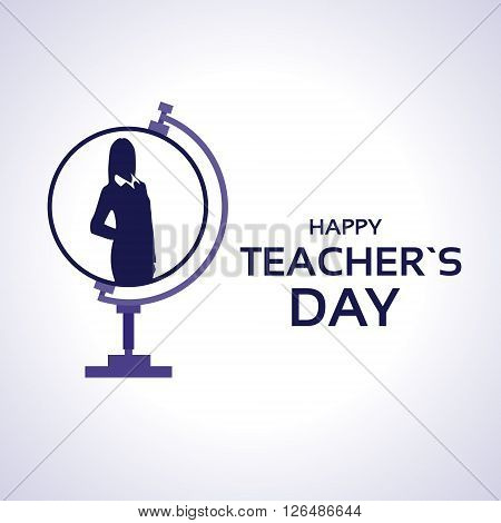 Teacher Day Holiday Silhouette Woman On Globe Greeting Card Flat Vector Illustration