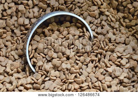 dog food on stainless bowl in sack bag