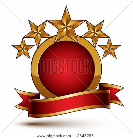 Vector Glamorous Round Element With Red Filling, 3D Polished Five Golden Stars Branded Symbol With F