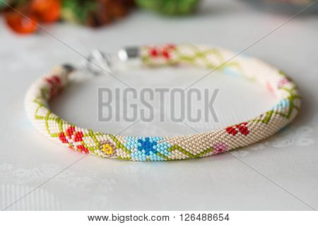 Beaded Crochet Necklace With Floral Pattern Close Up