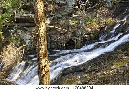 A waterfall flowing through Dean's Ravine located on the Mohawk Trail in Falls Village Connecticut on a spring morning.
