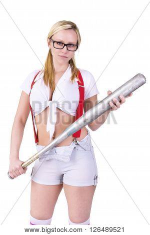 Bad girl holding baseball bat, isolated on white background.