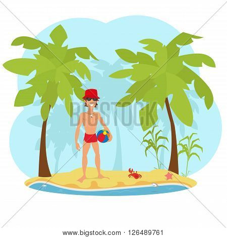 Portrait of an attractive young man on a tropical beach. handsome muscular man standing on the beach. vector