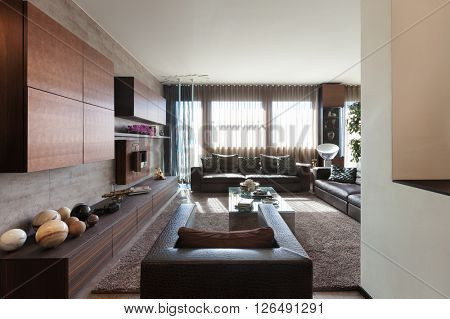 Interiors of new apartment , living room with leather divans