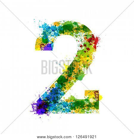 Color Paint Splashes. Gradient Vector Font Symbols. Watercolor Paint Splash Designer Decoration Alphabet. Color ink Number Symbols Isolated on a White Background. Paint Splash Number 2