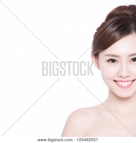 Half face of Beautiful Skin care woman smile to you isolated on white background. asian Beauty