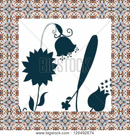 Beautiful napkin with cute flower. Hand drawn floral card with ornamental border.