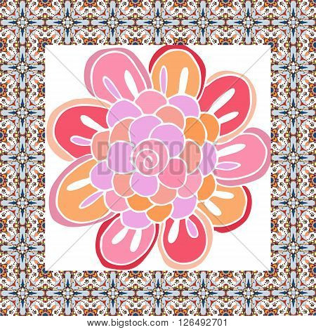 Beautiful napkin with cute hand drawn flower. Vector card with ornamental border.