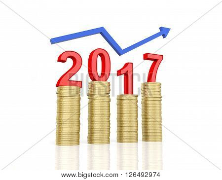 New Year 2017 - 3D Rendered Image