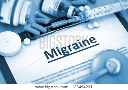 Diagnosis - Migraine On Background of Medicaments Composition - Pills, Injections and Syringe. Migraine - Printed Diagnosis with Blurred Text. 3D Render.