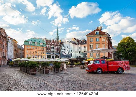 Riga, Latvia - 24-august-2015: Morning Summer Cathedral Square In The Old City Of Riga, Latvia
