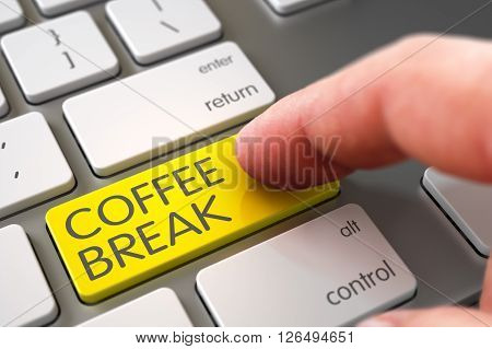 Finger Pushing Coffee Break Key on Metallic Keyboard. Coffee Break Concept - Slim Aluminum Keyboard with Key. Hand Finger Press Coffee Break Keypad. 3D Illustration.