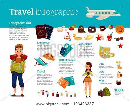Infographics with travel concept summer vacation on the beach, tourists go hiking in travel  set of elements of icons, card, ticket, airplane, passport, beach stuff
