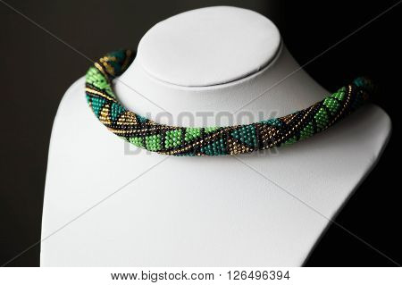 Handmade Crochet Beaded Necklace With Geometrical Pattern