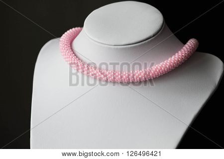 Handmade Crocheted Necklace Made From Pink Beads