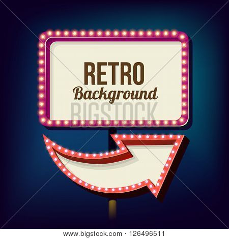 Retro night sign with an arrow. Vintage volumetric banner. Outdoor advertising. Realistic character to your text. Design ellement for your advertising banner. illustration