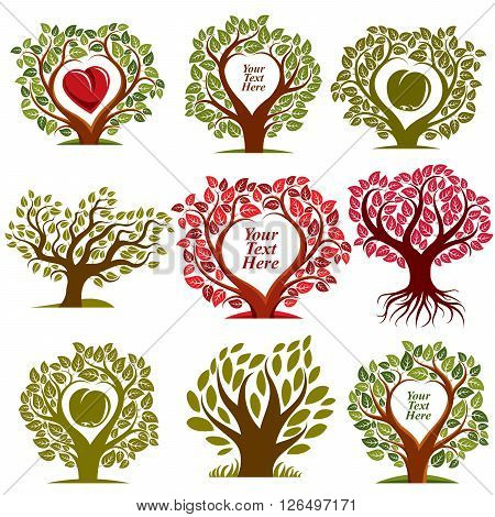 Vector Graphic Illustration Of Trees With Red Heart And Empty Copy Space, You Are Free To Write Your