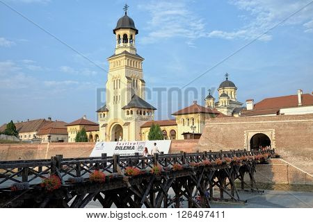 ALBA IULIA, ROMANIA - AUGUST 11, 2015: the Coronation Cathedral in Carolina Citadel of Alba Iulia