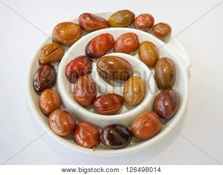 Olives On Plate In A Spiral