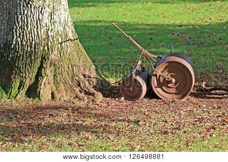 old garden roller by a tree in a park